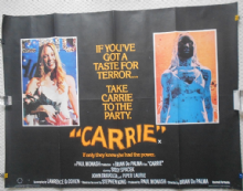 Carrie, Original UK Quad Poster, Sissy Spacek, Piper Laurie, '76 (vg+++)